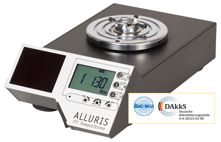 Service of Alluris® calibration laboratory for torque, certified according ISO 9001:2008 with management system in accordance with DIN EN ISO 17025