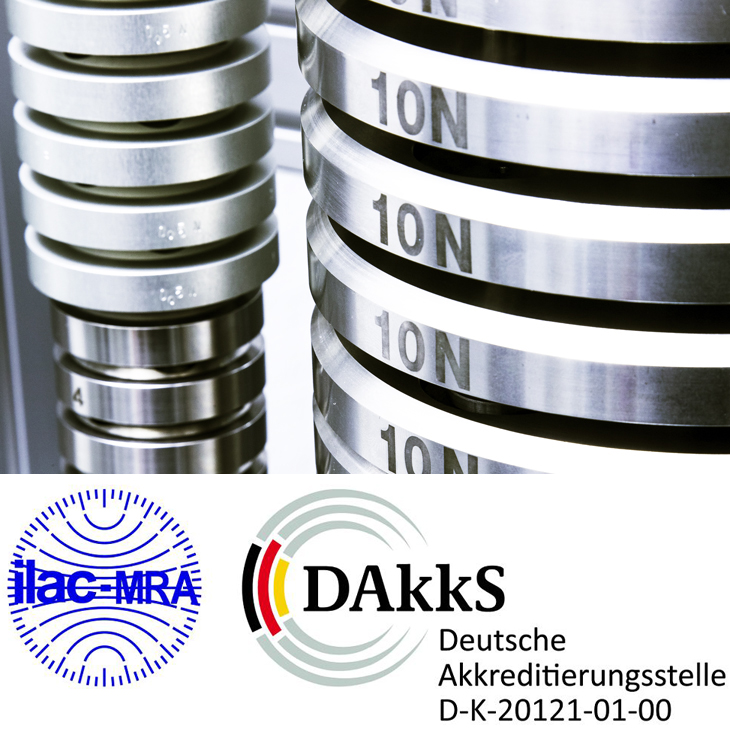 Service of Alluris® calibration laboratory for force, accredited in accordance to DIN EN ISO/IEC 17025 by DAkkS