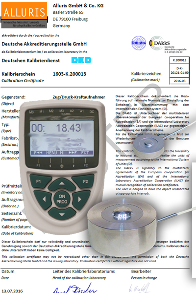 Calibration certificate for force measuring devices according DAkkS.